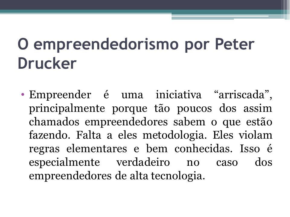 O empreendedorismo por Peter Drucker Empreender é uma iniciativa arriscada, principalmente porque tão poucos dos assim chamados empreendedores sabem o