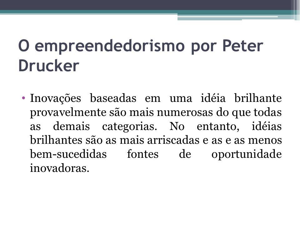 O empreendedorismo por Peter Drucker Inovações baseadas em uma idéia brilhante provavelmente são mais numerosas do que todas as demais categorias. No
