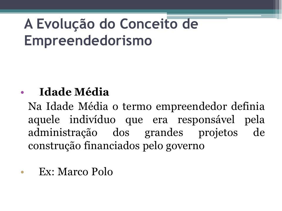 A Evolução do Conceito de Empreendedorismo Idade Média Na Idade Média o termo empreendedor definia aquele indivíduo que era responsável pela administr