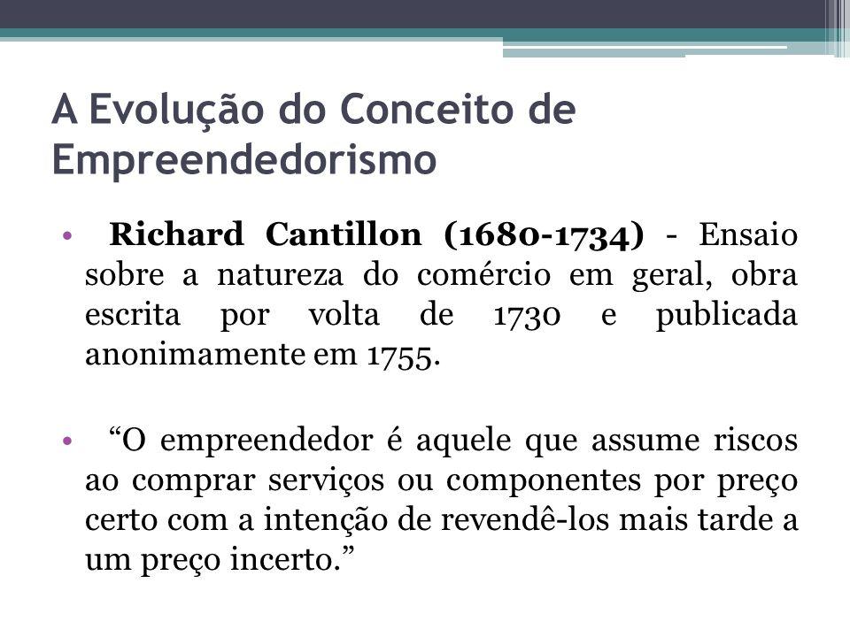 A Evolução do Conceito de Empreendedorismo Jean-Batiste Say (1757-1832) uma pessoa que era capaz de transferir a produtividade de uma determinada área onde ela seria alta para uma outra onde ela era baixa