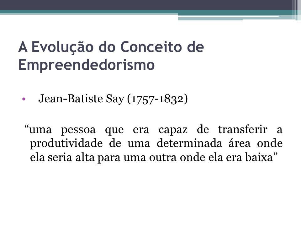 A Evolução do Conceito de Empreendedorismo Jean-Batiste Say (1757-1832) uma pessoa que era capaz de transferir a produtividade de uma determinada área