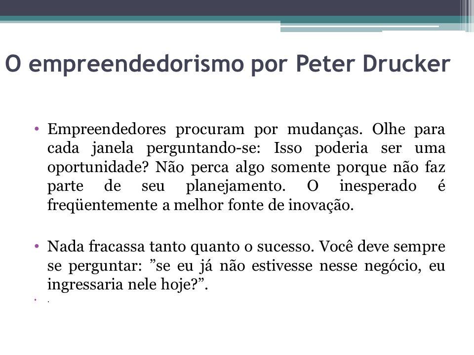 O empreendedorismo por Peter Drucker Empreendedores procuram por mudanças. Olhe para cada janela perguntando-se: Isso poderia ser uma oportunidade? Nã