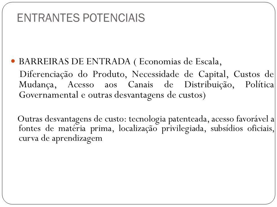 ENTRANTES POTENCIAIS BARREIRAS DE ENTRADA ( Economias de Escala, Diferenciação do Produto, Necessidade de Capital, Custos de Mudança, Acesso aos Canai