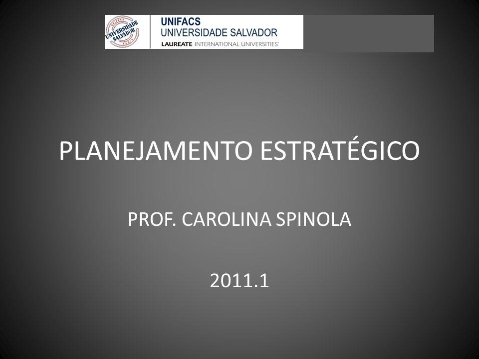 PLANEJAMENTO ESTRATÉGICO PROF. CAROLINA SPINOLA 2011.1