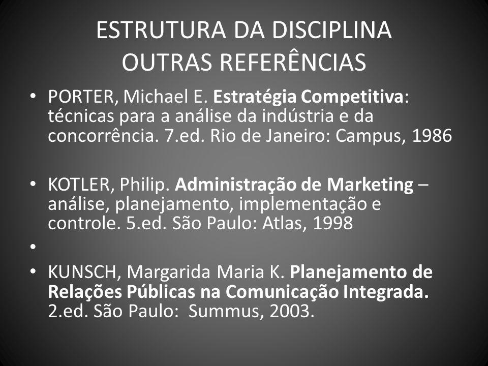 ESTRUTURA DA DISCIPLINA OUTRAS REFERÊNCIAS PORTER, Michael E. Estratégia Competitiva: técnicas para a análise da indústria e da concorrência. 7.ed. Ri