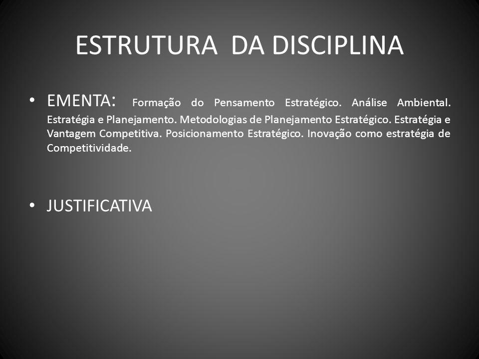 ESTRUTURA DA DISCIPLINA EMENTA : Formação do Pensamento Estratégico. Análise Ambiental. Estratégia e Planejamento. Metodologias de Planejamento Estrat