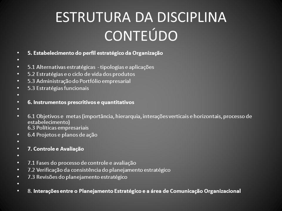 ESTRUTURA DA DISCIPLINA CONTEÚDO 5. Estabelecimento do perfil estratégico da Organização 5.1 Alternativas estratégicas - tipologias e aplicações 5.2 E