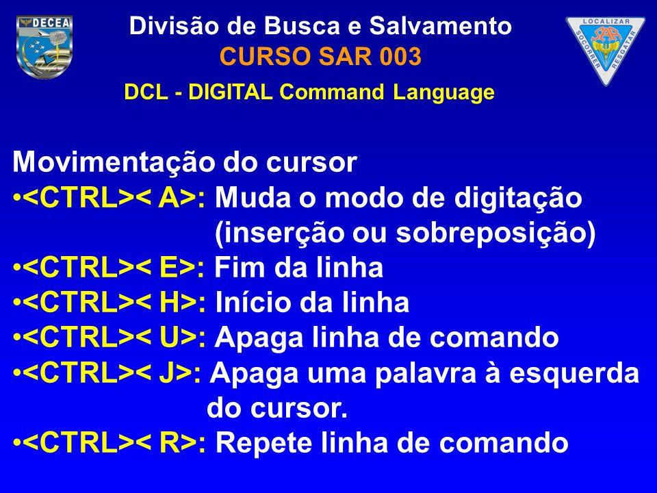 Divisão de Busca e Salvamento CURSO SAR 003 DCL - DIGITAL Command Language Movimentação do cursor : Muda o modo de digitação (inserção ou sobreposição