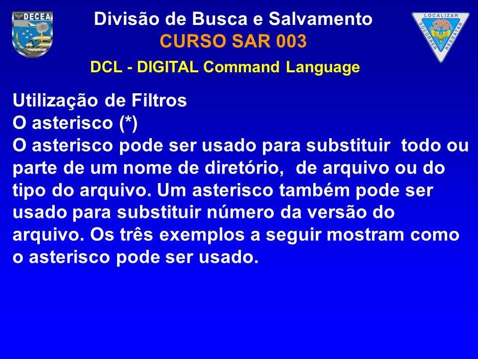 Divisão de Busca e Salvamento CURSO SAR 003 Utilização de Filtros O asterisco (*) O asterisco pode ser usado para substituir todo ou parte de um nome