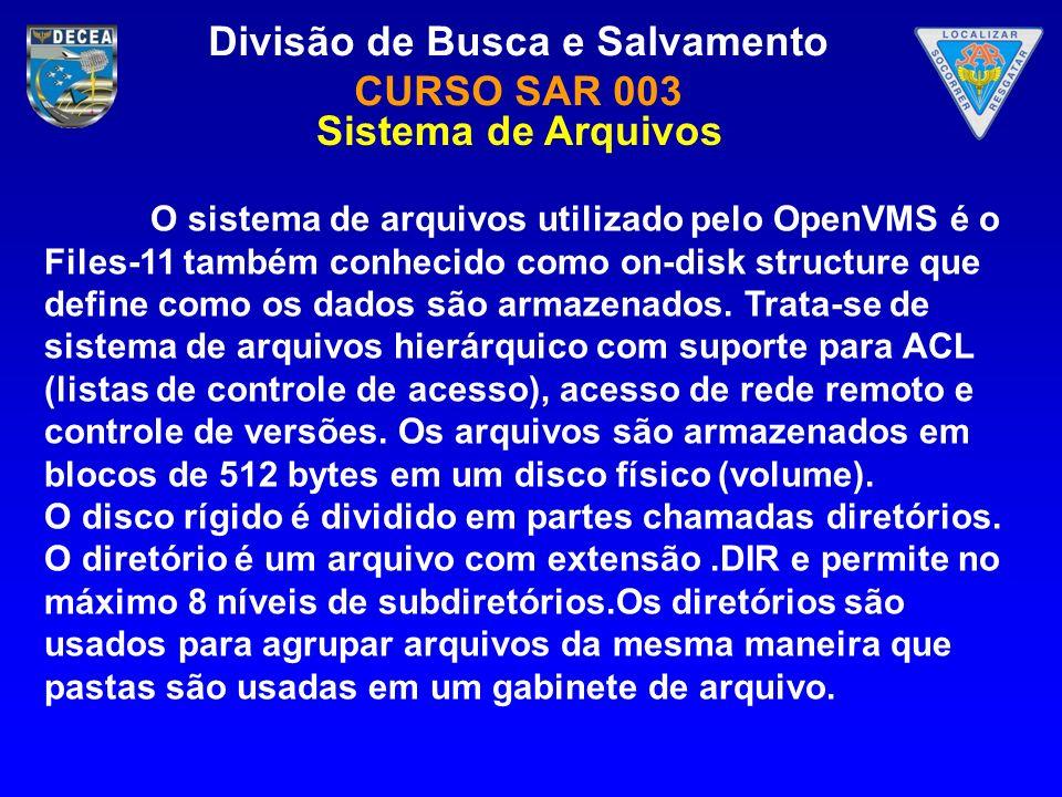 Divisão de Busca e Salvamento CURSO SAR 003 O sistema de arquivos utilizado pelo OpenVMS é o Files-11 também conhecido como on-disk structure que defi
