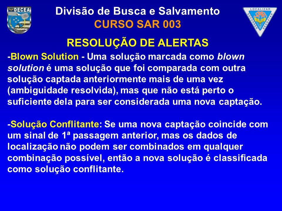 Divisão de Busca e Salvamento CURSO SAR 003 -Blown Solution - Uma solução marcada como blown solution é uma solução que foi comparada com outra soluçã