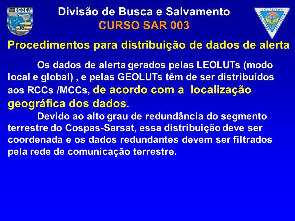 Divisão de Busca e Salvamento CURSO SAR 003 Os dados de alerta gerados pelas LEOLUTs (modo local e global), e pelas GEOLUTs têm de ser distribuídos ao