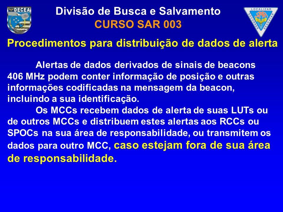 Divisão de Busca e Salvamento CURSO SAR 003 Alertas de dados derivados de sinais de beacons 406 MHz podem conter informação de posição e outras inform