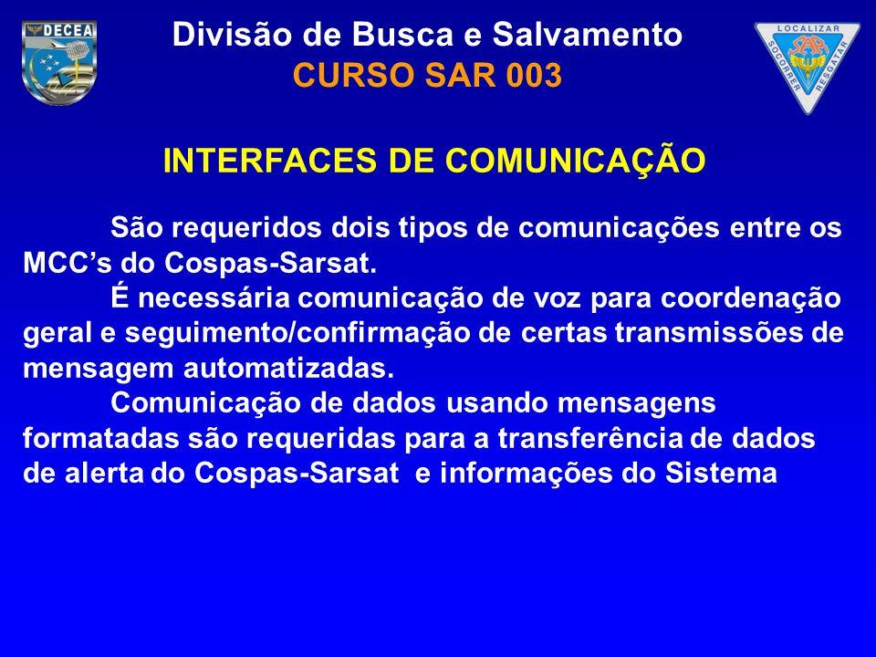Divisão de Busca e Salvamento CURSO SAR 003 São requeridos dois tipos de comunicações entre os MCCs do Cospas-Sarsat. É necessária comunicação de voz