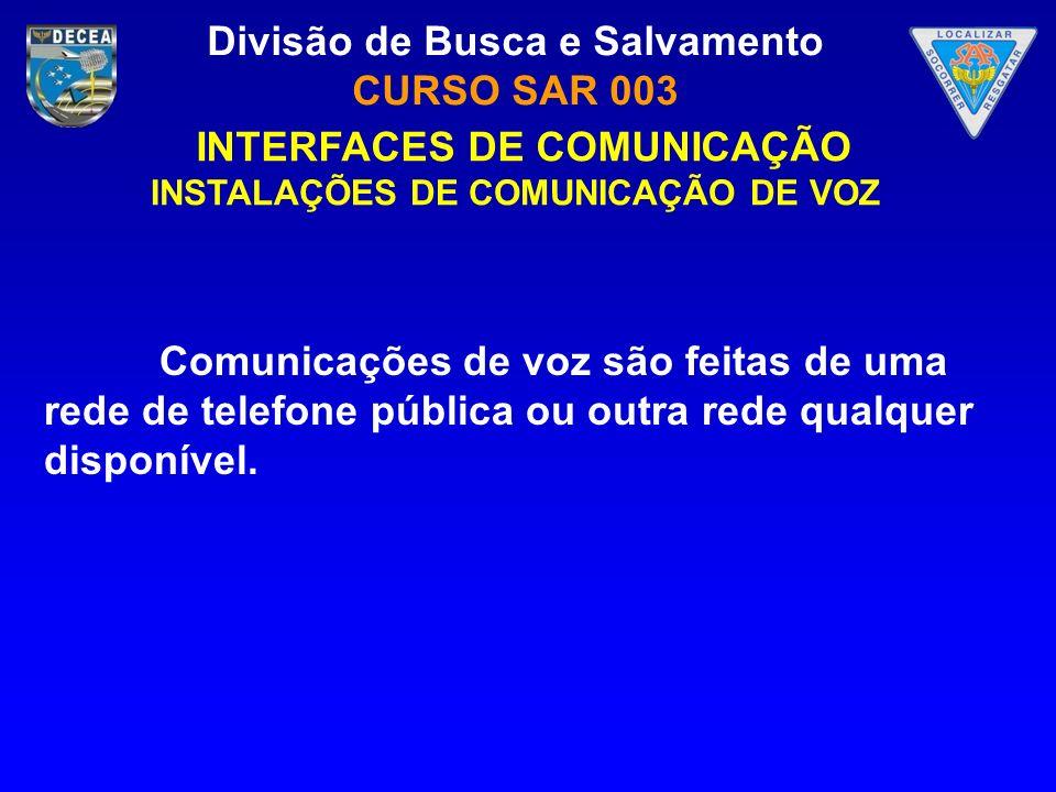 Divisão de Busca e Salvamento CURSO SAR 003 Comunicações de voz são feitas de uma rede de telefone pública ou outra rede qualquer disponível. INTERFAC