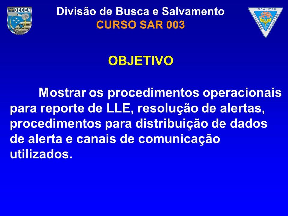 OBJETIVO Mostrar os procedimentos operacionais para reporte de LLE, resolução de alertas, procedimentos para distribuição de dados de alerta e canais