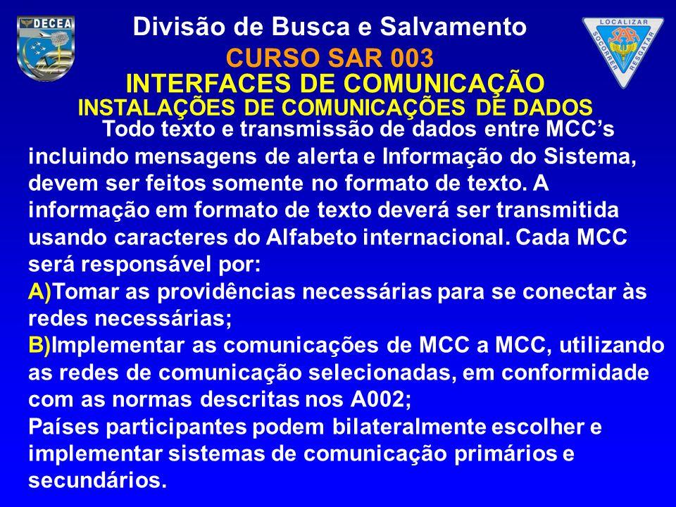 Divisão de Busca e Salvamento CURSO SAR 003 INTERFACES DE COMUNICAÇÃO INSTALAÇÕES DE COMUNICAÇÕES DE DADOS Todo texto e transmissão de dados entre MCC