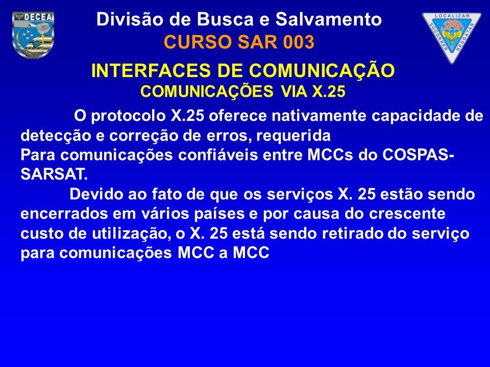 Divisão de Busca e Salvamento CURSO SAR 003 INTERFACES DE COMUNICAÇÃO COMUNICAÇÕES VIA X.25 O protocolo X.25 oferece nativamente capacidade de detecçã