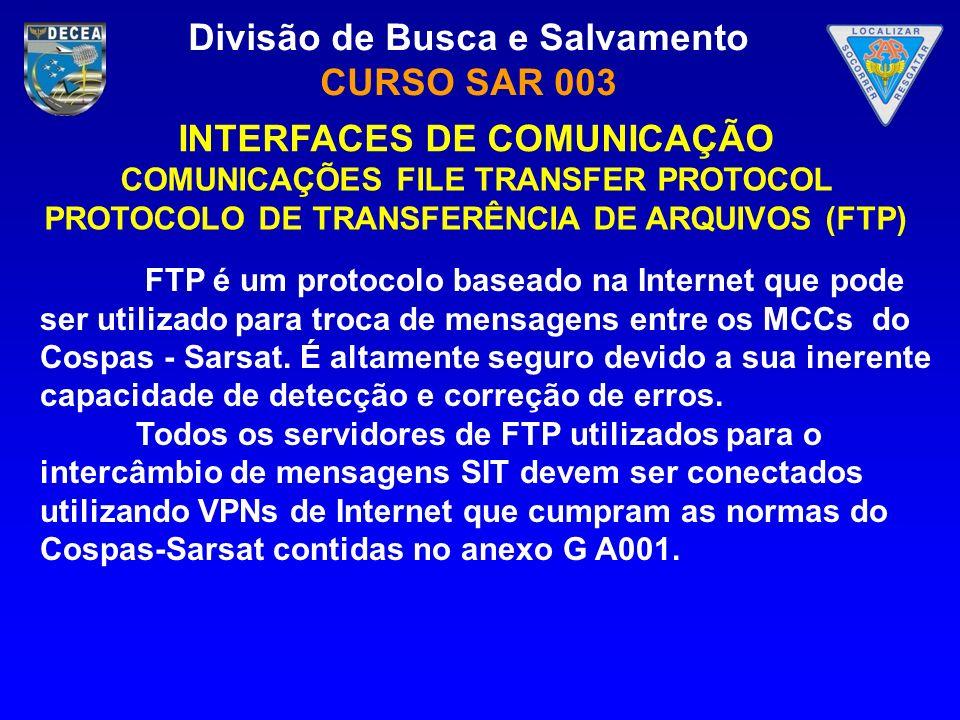 Divisão de Busca e Salvamento CURSO SAR 003 INTERFACES DE COMUNICAÇÃO COMUNICAÇÕES FILE TRANSFER PROTOCOL PROTOCOLO DE TRANSFERÊNCIA DE ARQUIVOS (FTP)