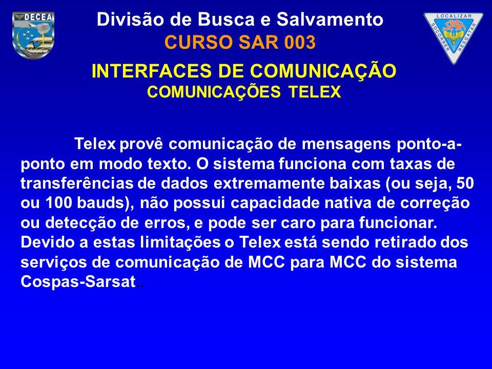 Divisão de Busca e Salvamento CURSO SAR 003 INTERFACES DE COMUNICAÇÃO COMUNICAÇÕES TELEX Telex provê comunicação de mensagens ponto-a- ponto em modo t