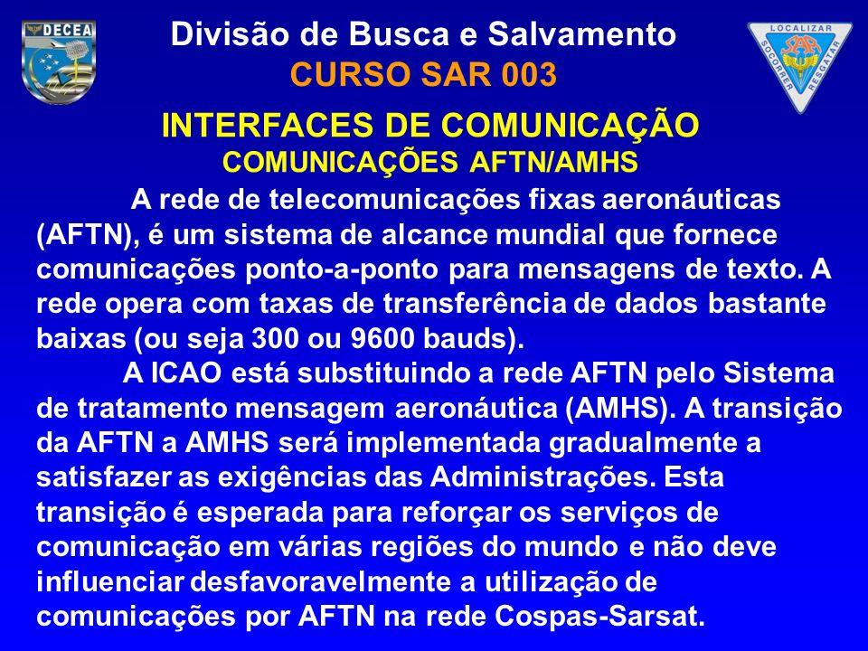 Divisão de Busca e Salvamento CURSO SAR 003 INTERFACES DE COMUNICAÇÃO COMUNICAÇÕES AFTN/AMHS A rede de telecomunicações fixas aeronáuticas (AFTN), é u