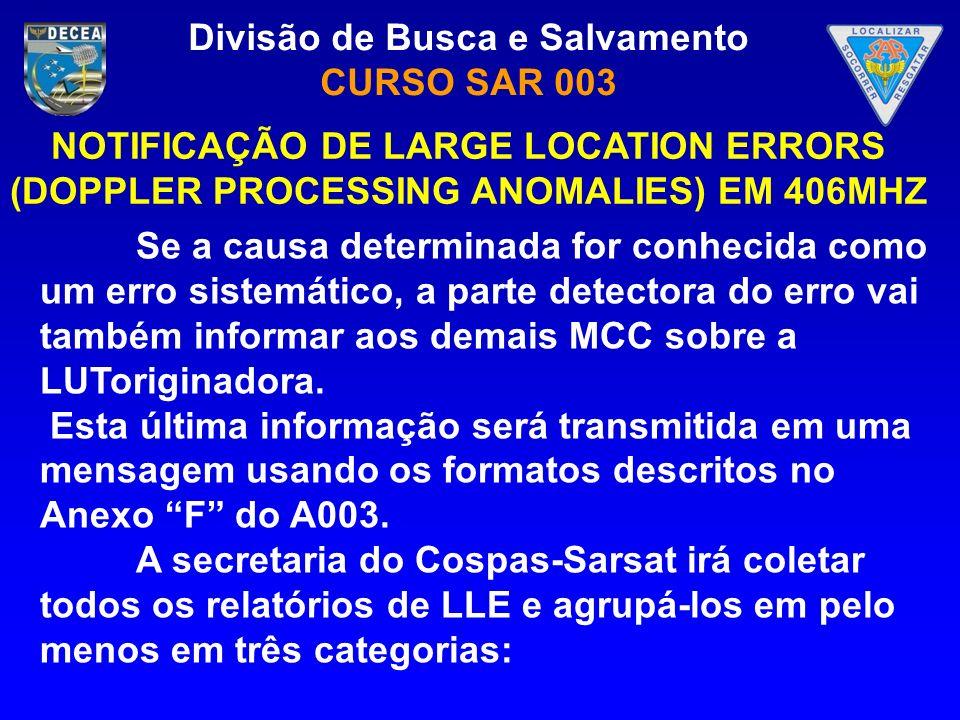 Divisão de Busca e Salvamento CURSO SAR 003 Se a causa determinada for conhecida como um erro sistemático, a parte detectora do erro vai também inform