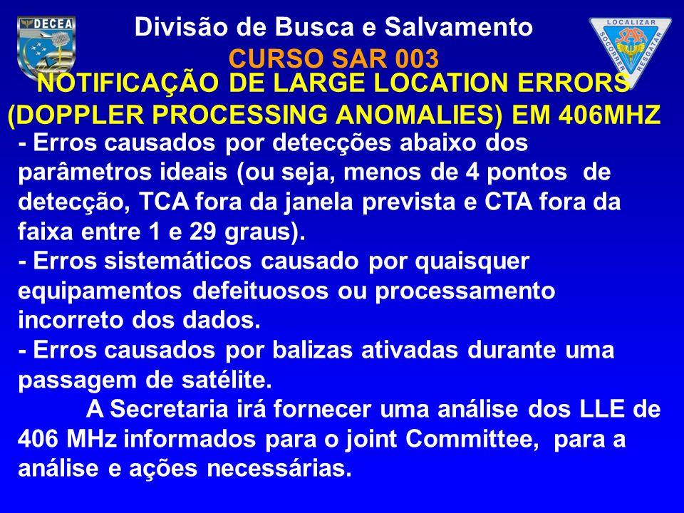 Divisão de Busca e Salvamento CURSO SAR 003 - Erros causados por detecções abaixo dos parâmetros ideais (ou seja, menos de 4 pontos de detecção, TCA f