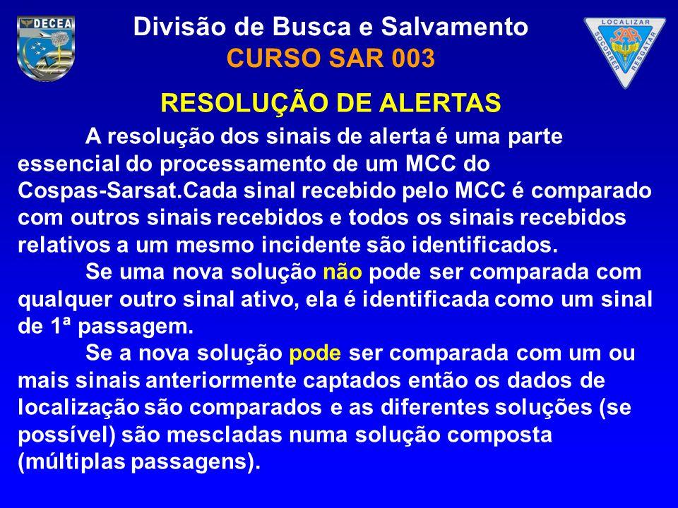 Divisão de Busca e Salvamento CURSO SAR 003 A resolução dos sinais de alerta é uma parte essencial do processamento de um MCC do Cospas-Sarsat.Cada si