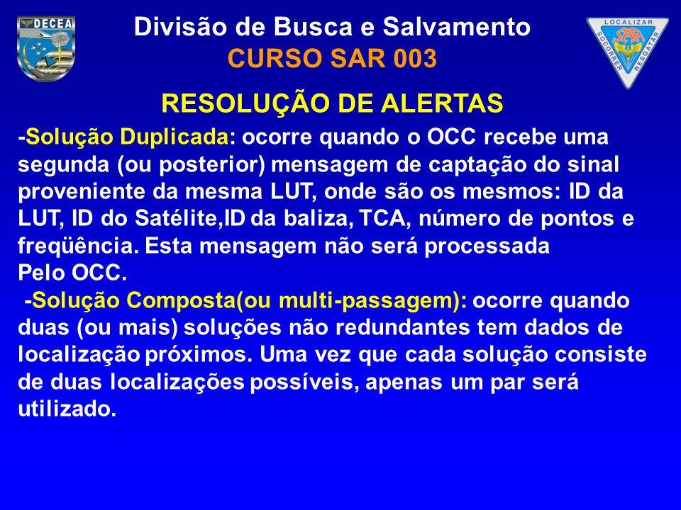 Divisão de Busca e Salvamento CURSO SAR 003 -Solução Duplicada: ocorre quando o OCC recebe uma segunda (ou posterior) mensagem de captação do sinal pr