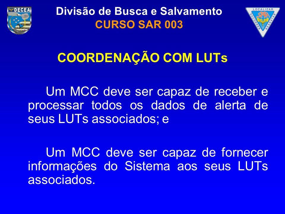Divisão de Busca e Salvamento CURSO SAR 003 COORDENAÇÃO COM LUTs Um MCC deve ser capaz de receber e processar todos os dados de alerta de seus LUTs as