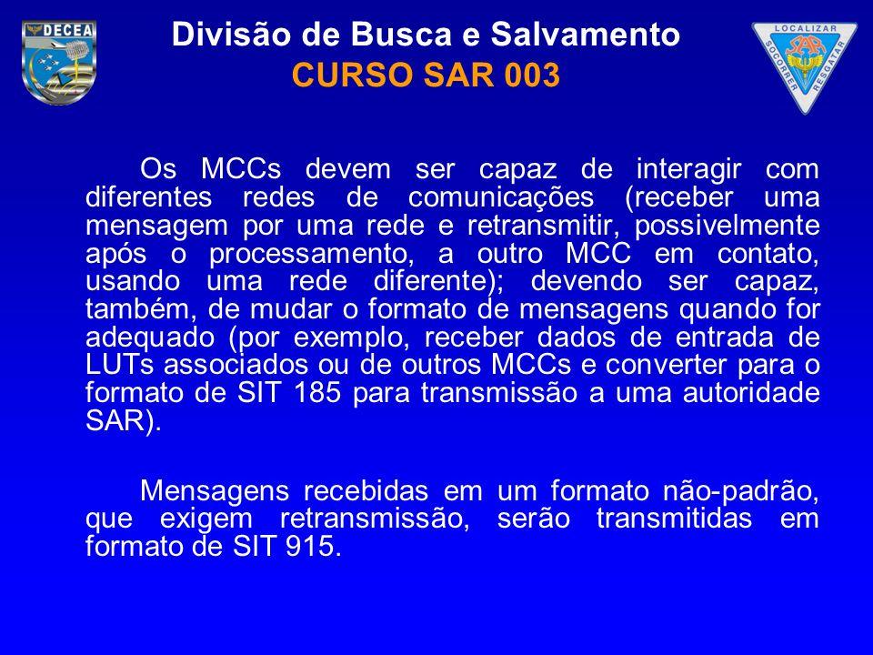 Divisão de Busca e Salvamento CURSO SAR 003 Os MCCs devem ser capaz de interagir com diferentes redes de comunicações (receber uma mensagem por uma re