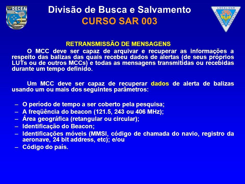 Divisão de Busca e Salvamento CURSO SAR 003 RETRANSMISSÃO DE MENSAGENS O MCC deve ser capaz de arquivar e recuperar as informações a respeito das bali