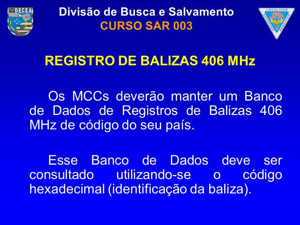 Divisão de Busca e Salvamento CURSO SAR 003 REGISTRO DE BALIZAS 406 MHz Os MCCs deverão manter um Banco de Dados de Registros de Balizas 406 MHz de có