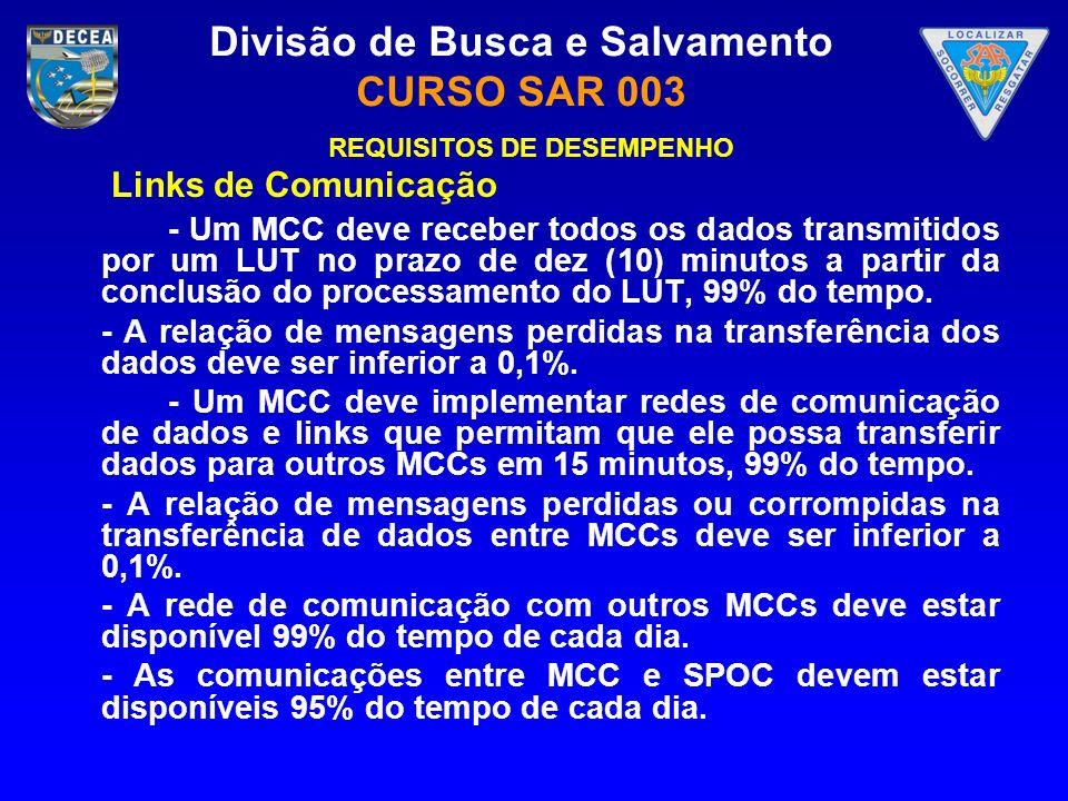 Divisão de Busca e Salvamento CURSO SAR 003 REQUISITOS DE DESEMPENHO Links de Comunicação - Um MCC deve receber todos os dados transmitidos por um LUT