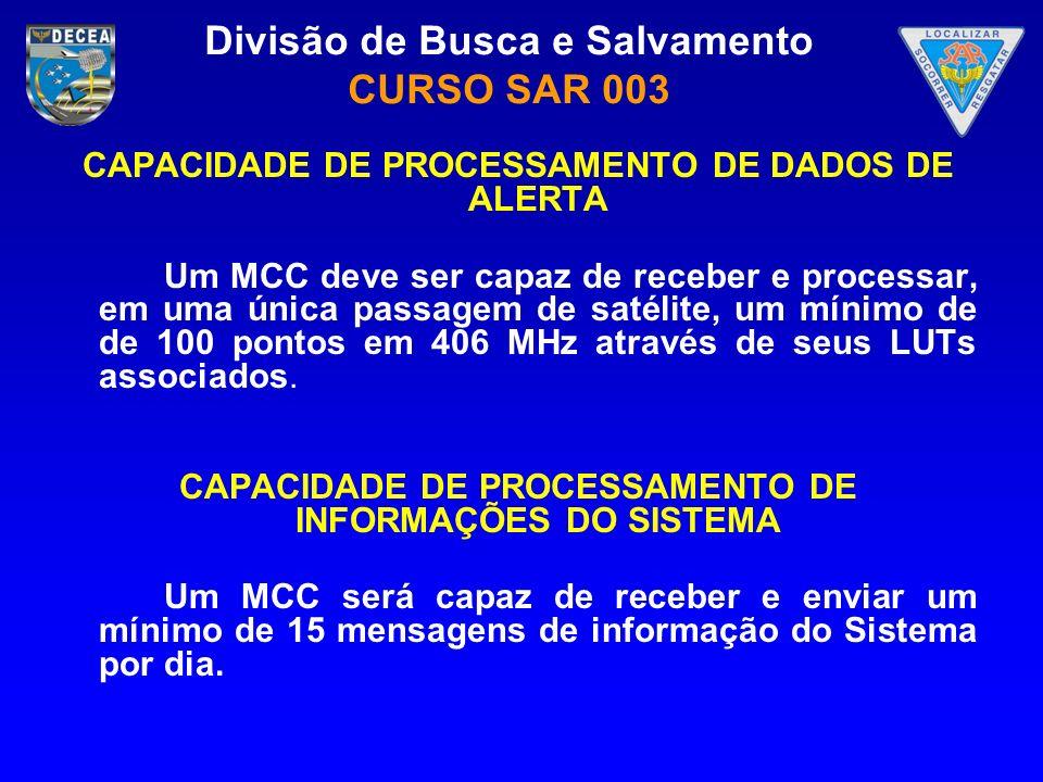 Divisão de Busca e Salvamento CURSO SAR 003 CAPACIDADE DE PROCESSAMENTO DE DADOS DE ALERTA Um MCC deve ser capaz de receber e processar, em uma única