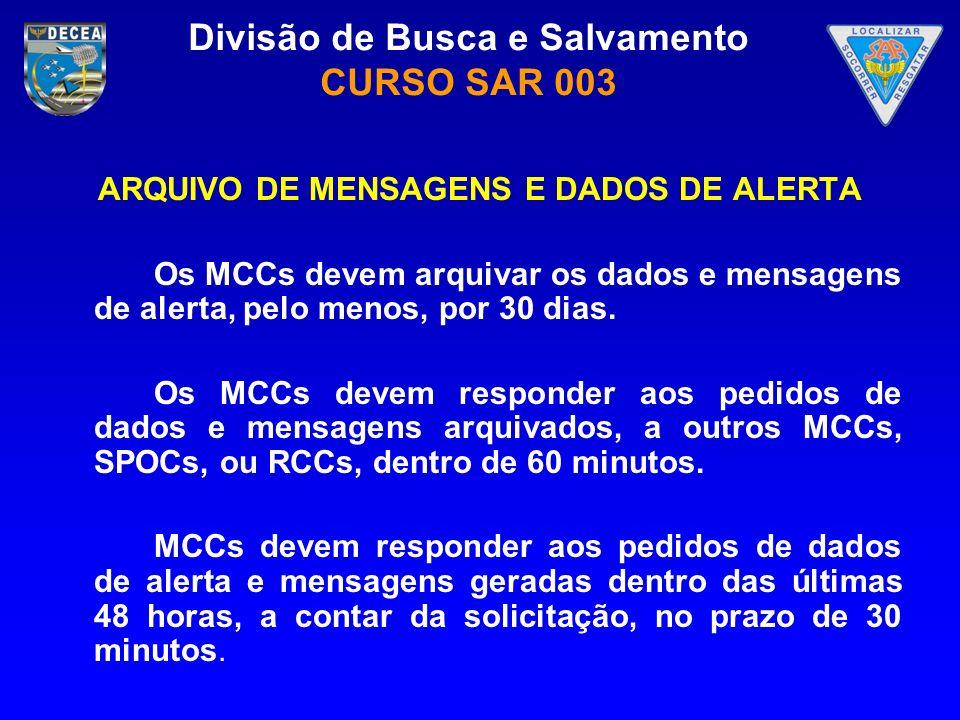 Divisão de Busca e Salvamento CURSO SAR 003 ARQUIVO DE MENSAGENS E DADOS DE ALERTA Os MCCs devem arquivar os dados e mensagens de alerta, pelo menos,