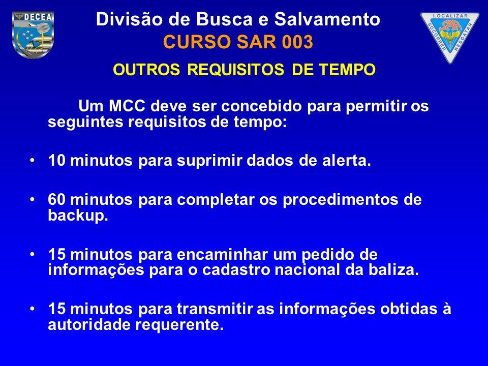 Divisão de Busca e Salvamento CURSO SAR 003 OUTROS REQUISITOS DE TEMPO Um MCC deve ser concebido para permitir os seguintes requisitos de tempo: 10 mi