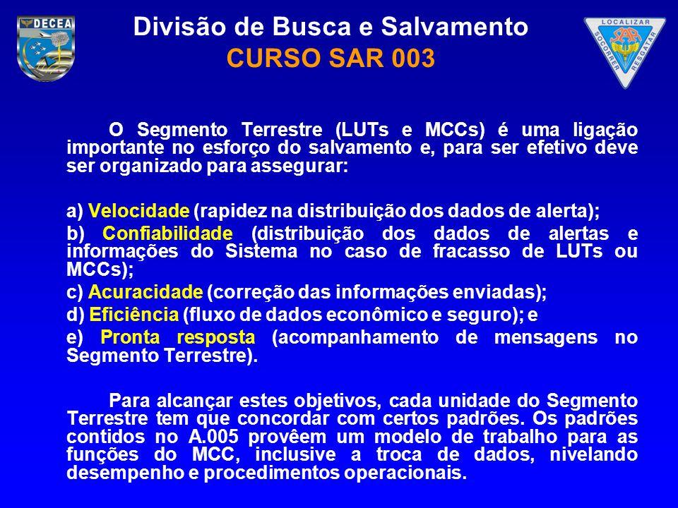 Divisão de Busca e Salvamento CURSO SAR 003 O Segmento Terrestre (LUTs e MCCs) é uma ligação importante no esforço do salvamento e, para ser efetivo d