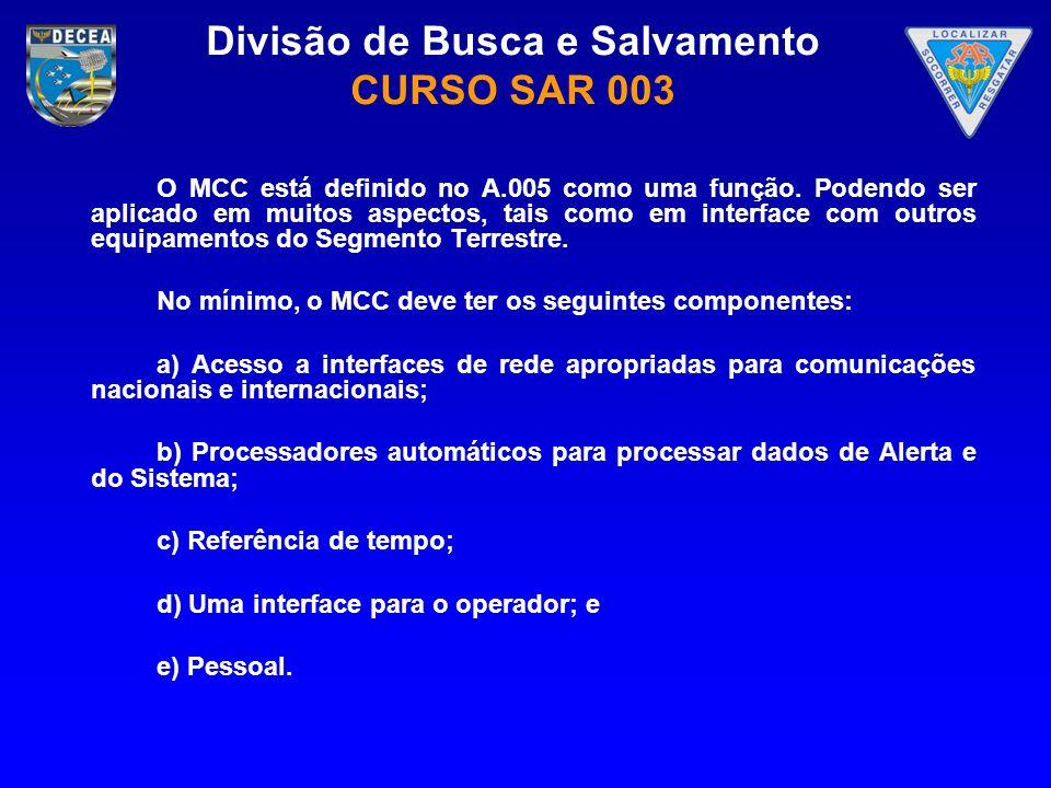 Divisão de Busca e Salvamento CURSO SAR 003 O MCC está definido no A.005 como uma função. Podendo ser aplicado em muitos aspectos, tais como em interf