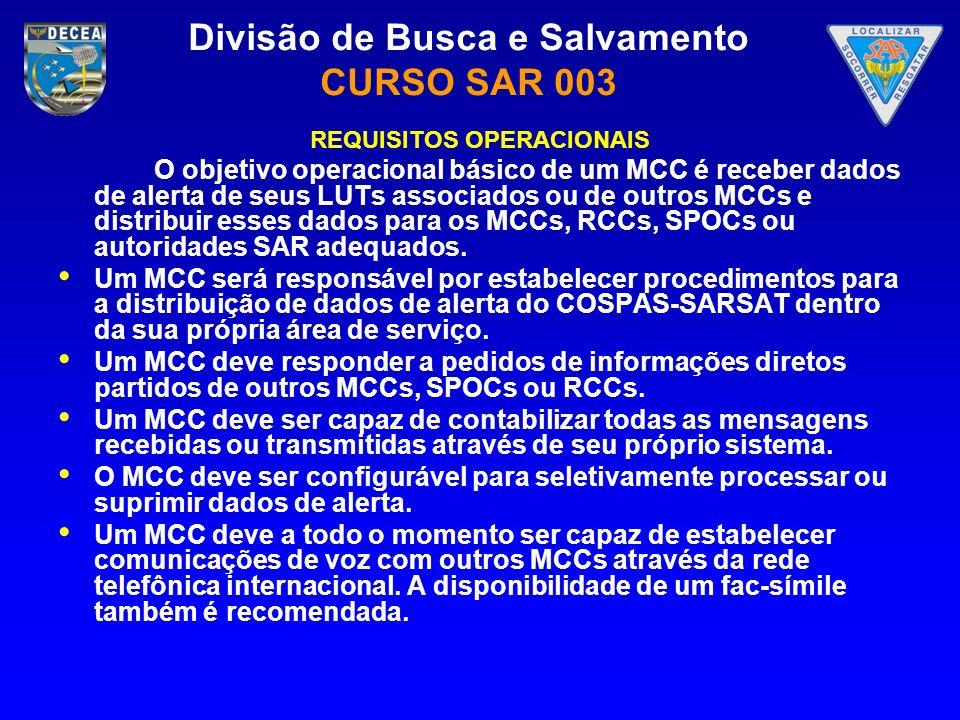 Divisão de Busca e Salvamento CURSO SAR 003 REQUISITOS OPERACIONAIS O objetivo operacional básico de um MCC é receber dados de alerta de seus LUTs ass