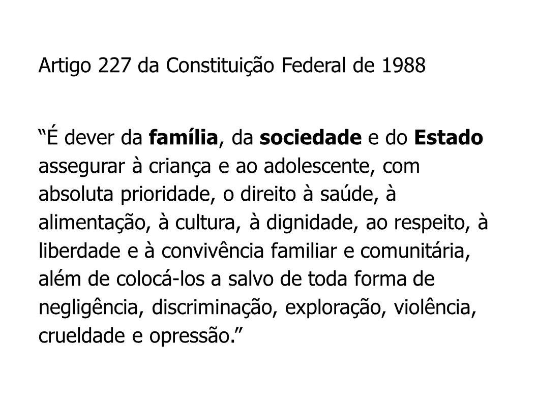 Artigo 227 da Constituição Federal de 1988 É dever da família, da sociedade e do Estado assegurar à criança e ao adolescente, com absoluta prioridade,