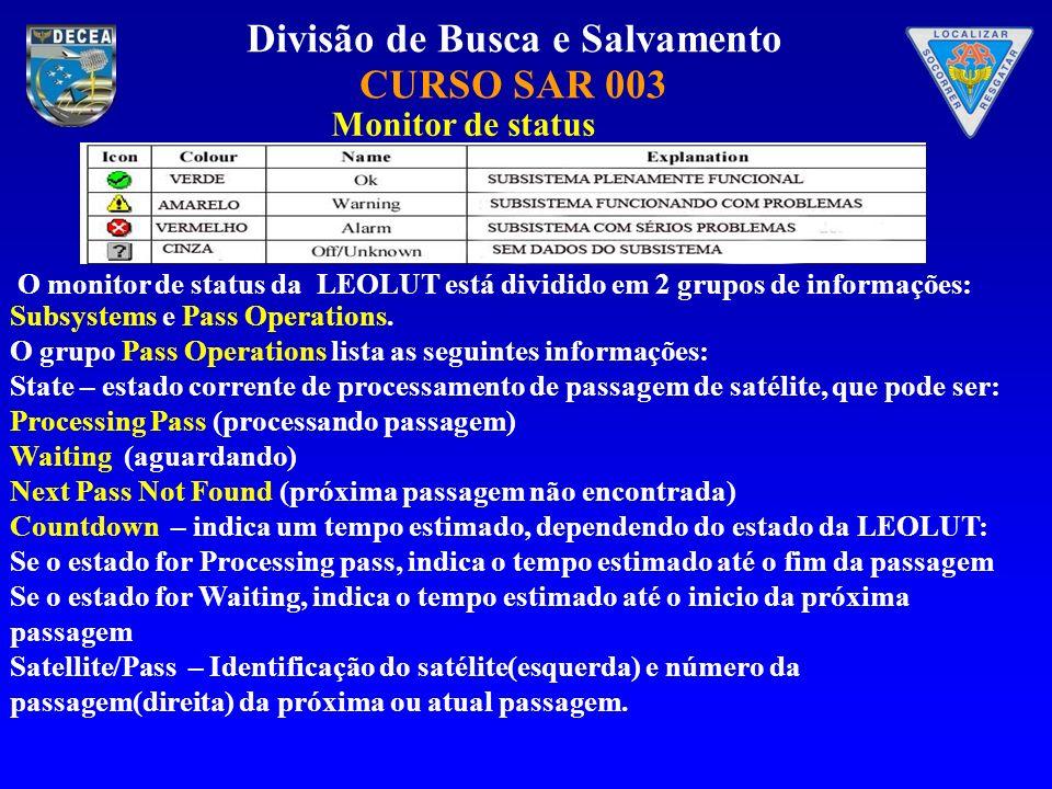 Divisão de Busca e Salvamento CURSO SAR 003 Monitor de status O monitor de status da LEOLUT está dividido em 2 grupos de informações: Subsystems e Pas