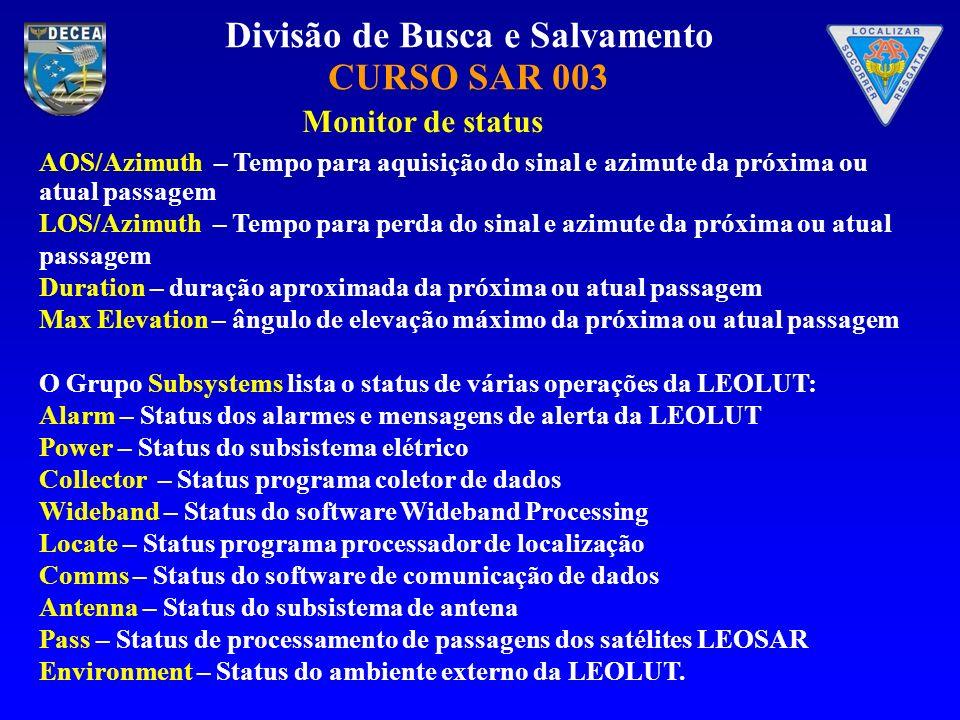 Divisão de Busca e Salvamento CURSO SAR 003 Monitor de status AOS/Azimuth – Tempo para aquisição do sinal e azimute da próxima ou atual passagem LOS/A