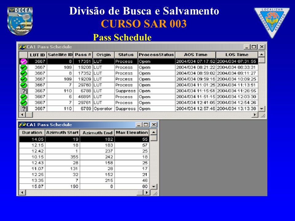 Divisão de Busca e Salvamento CURSO SAR 003 Pass Schedule