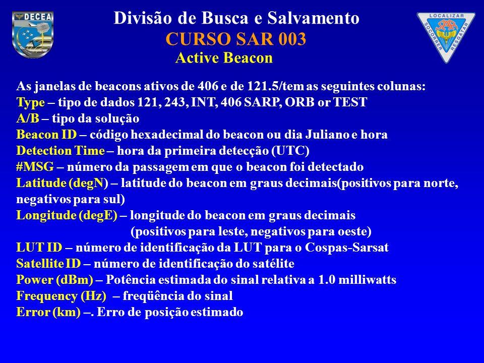 Divisão de Busca e Salvamento CURSO SAR 003 As janelas de beacons ativos de 406 e de 121.5/tem as seguintes colunas: Type – tipo de dados 121, 243, IN