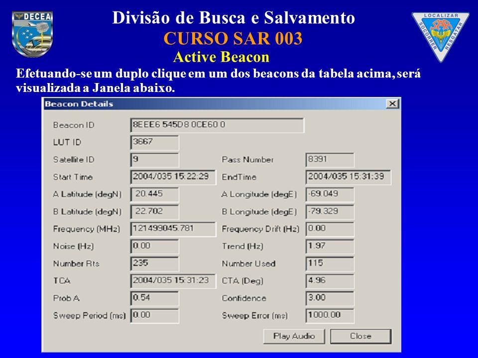 Divisão de Busca e Salvamento CURSO SAR 003 Efetuando-se um duplo clique em um dos beacons da tabela acima, será visualizada a Janela abaixo. Active B