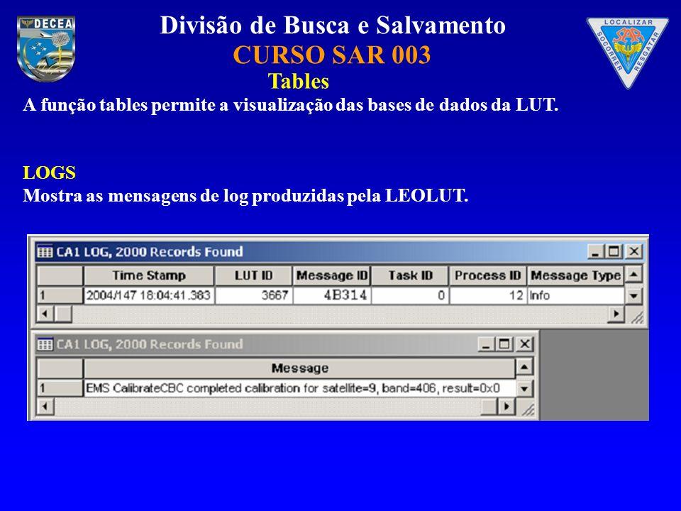 Divisão de Busca e Salvamento CURSO SAR 003 A função tables permite a visualização das bases de dados da LUT. LOGS Mostra as mensagens de log produzid