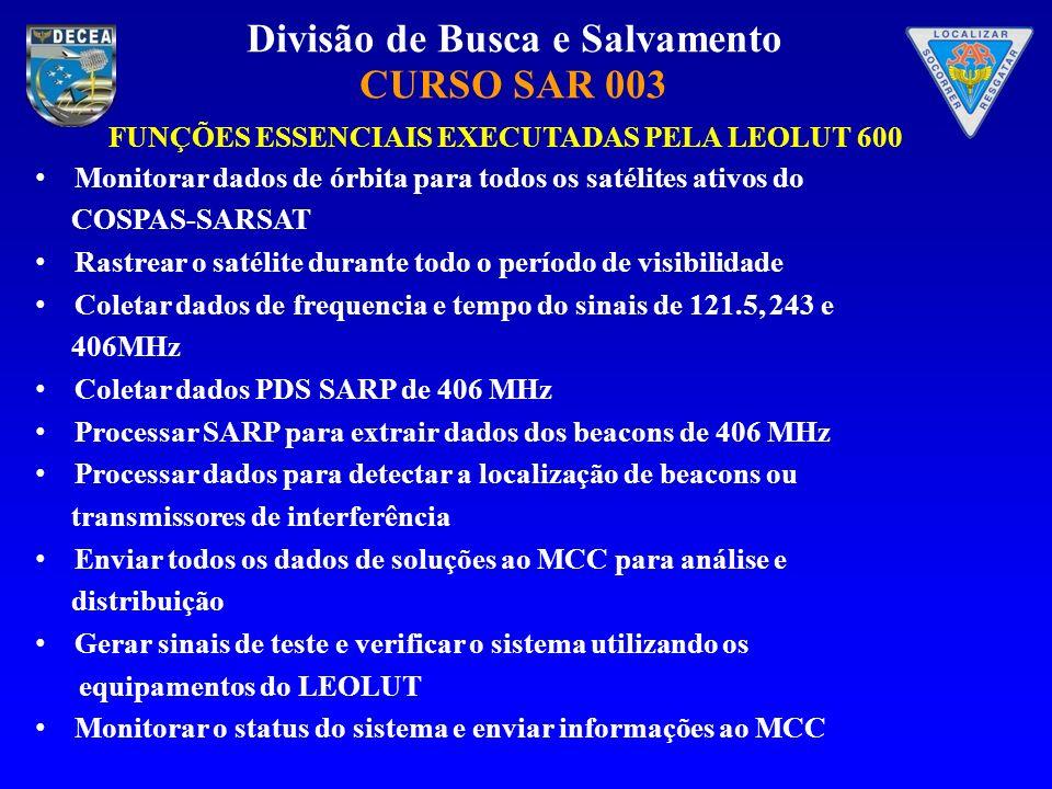 Divisão de Busca e Salvamento CURSO SAR 003 Monitorar dados de órbita para todos os satélites ativos do COSPAS-SARSAT Rastrear o satélite durante todo o período de visibilidade Coletar dados de frequencia e tempo do sinais de 121.5, 243 e 406MHz Coletar dados PDS SARP de 406 MHz Processar SARP para extrair dados dos beacons de 406 MHz Processar dados para detectar a localização de beacons ou transmissores de interferência Enviar todos os dados de soluções ao MCC para análise e distribuição Gerar sinais de teste e verificar o sistema utilizando os equipamentos do LEOLUT Monitorar o status do sistema e enviar informações ao MCC FUNÇÕES ESSENCIAIS EXECUTADAS PELA LEOLUT 600