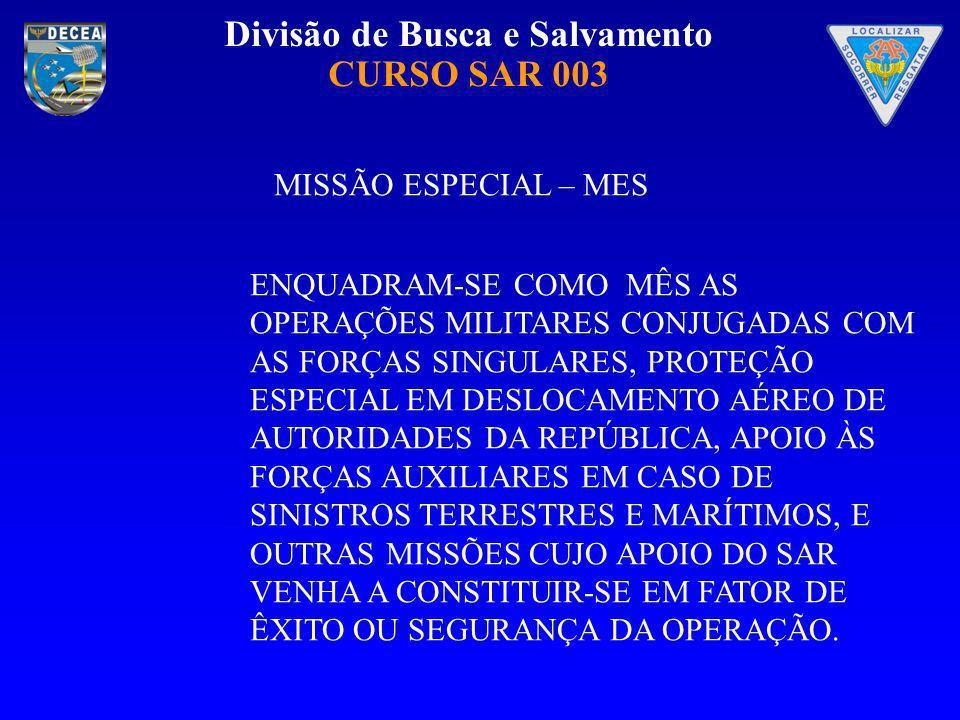 Divisão de Busca e Salvamento CURSO SAR 003 MISSÃO ESPECIAL – MES ENQUADRAM-SE COMO MÊS AS OPERAÇÕES MILITARES CONJUGADAS COM AS FORÇAS SINGULARES, PR