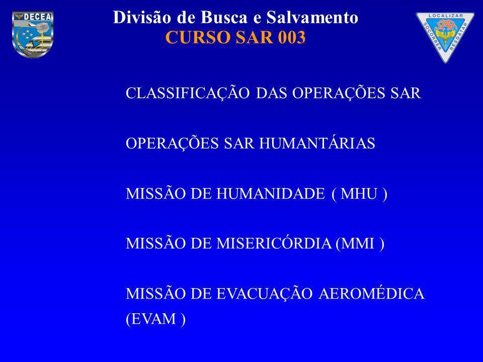 Divisão de Busca e Salvamento CURSO SAR 003 CLASSIFICAÇÃO DAS OPERAÇÕES SAR OPERAÇÕES SAR HUMANTÁRIAS MISSÃO DE HUMANIDADE ( MHU ) MISSÃO DE MISERICÓR